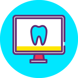 Desktop monitor of neon light blue tooth in front of a white background.
