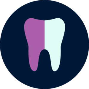 Purple and white tooth inside a dark blue circle icon.